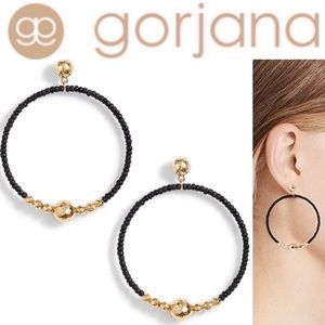 Gorjana Black Gold Sayulita Drop Hoop Earrings